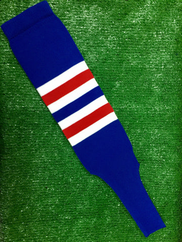 "Baseball Stirrups 8"" Royal Blue with White and Red Stripes"