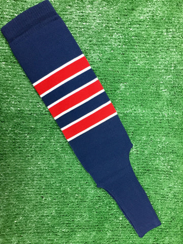 "Baseball Stirrups 4"" or 6"" Navy with Red Stripes Trimmed with White"