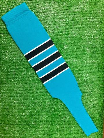 "Baseball Stirrups 4"" or 6"" Teal with Black Stripes Trimmed with White"