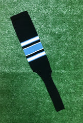 "Baseball Stirrups 8"" Black with White and Columbia Blue Stripes with Trim"