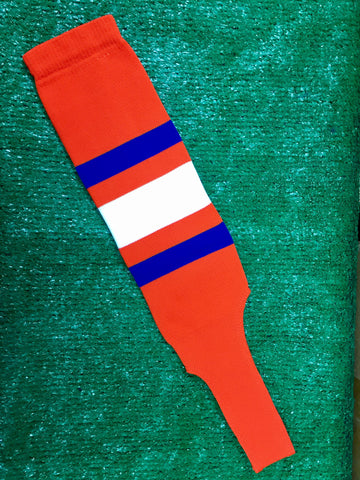 "Baseball Stirrups 6"" Orange with Thin Royal Thick White Thin Royal Stripes"