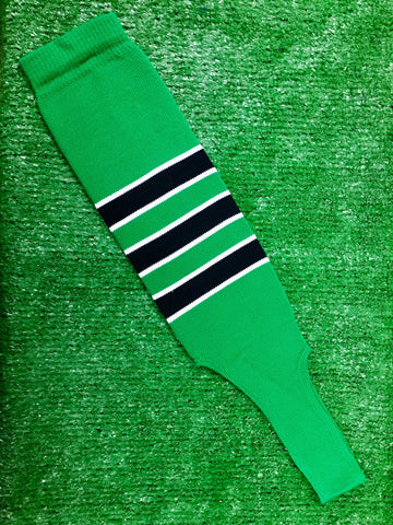 "Baseball Stirrups 6"" Kelly Green with Black Stripes Trimmed with White"