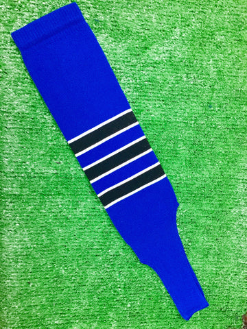 "Baseball Stirrups 6"" Royal Blue with Black Stripes Trimmed with White"
