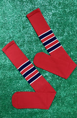 Baseball Full Length Red Sock with Three Navy Blue Stripes with White Trim