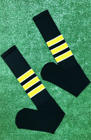 Baseball Full Length Black Sock with Three Gold Stripes with White Trim