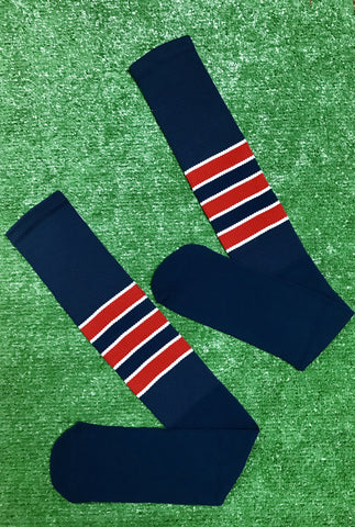 Baseball Full Length Navy Blue Sock with Three Red Stripes with White Trim