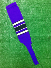 "Baseball Stirrups 8"" Purple with White and Black Stripes with Trim"
