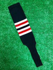 "Baseball Stirrups 6"" Black with White and Red Stripes"