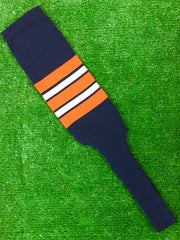 "Baseball Stirrups 8"" Navy Blue with Orange White and Navy Stripes"