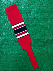"Baseball Stirrups 8"" Red (Scarlet) with White and Black Stripes with Trim"