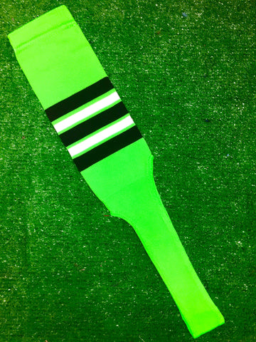 "Baseball Stirrups 8"" Neon Green with Black White and Neon Green Stripes"