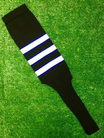 "Baseball Stirrups 4"" or 8"" Black with White Stripes Trimmed with Royal Blue"
