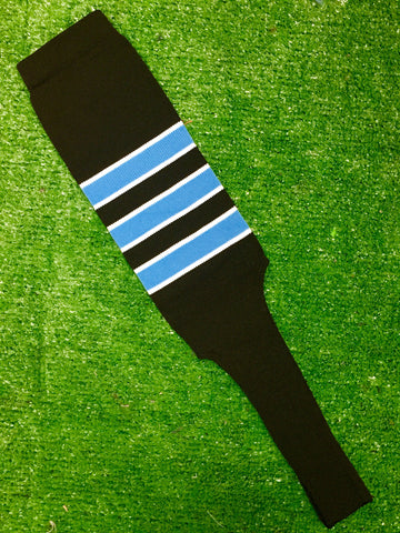 "Baseball Stirrups 6"" or 8"" Black with Columbia Blue Stripes Trimmed with White"