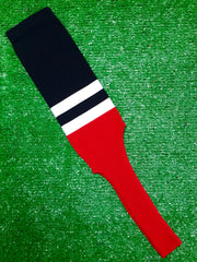 "Baseball Stirrups 8"" Black with Two White Stripes Red Bottom"