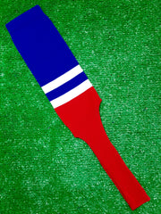"Baseball Stirrups 8"" Royal Blue with Two White Stripes Red Bottom"