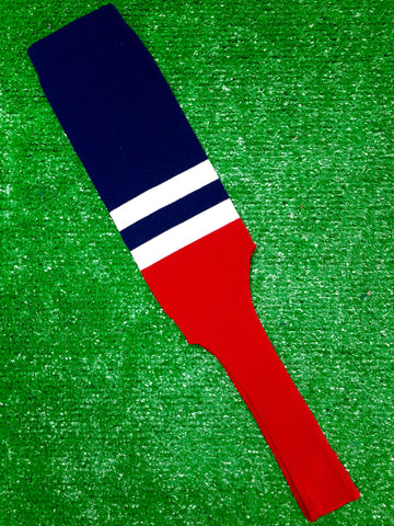 "Baseball Stirrups 8"" Navy Blue with Two White Stripes Red Bottom"