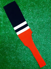 "Baseball Stirrups 8"" Black with Two White Stripes Orange Bottom"