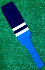 "Baseball Stirrups 8"" Navy with Two White Stripes Columbia Blue Bottom"