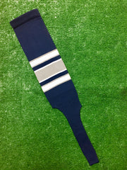 "Baseball Stirrups 8"" Navy Blue with White and Gray Stripes with Trim"