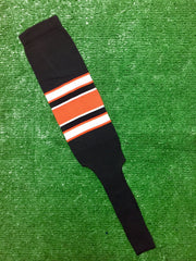 "Baseball Stirrups 8"" Black with White and Orange Stripes with Trim"