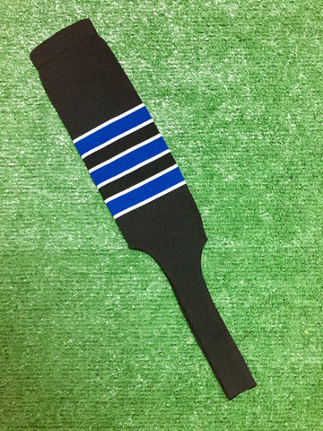 "Baseball Stirrups 6"" 8"" Black with Royal Blue Stripes Trimmed with White"
