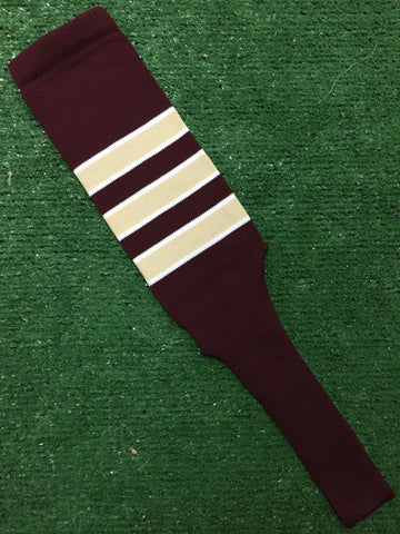 "Baseball Stirrups 8"" Maroon with Vega Gold Stripes Trimmed with White"