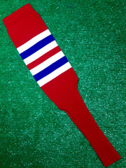 "Baseball Stirrups 6"" or 8"" Red with White and Royal Blue Stripes"