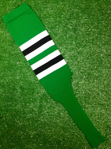 "Baseball Stirrups 8"" Kelly Green with White and Black Stripes"