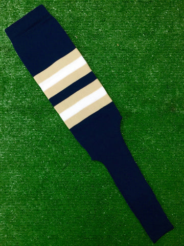 "Baseball Stirrups 8"" Navy Blue with Vegas Gold and White Stripes"