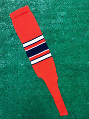 "Baseball Stirrups 8"" Orange with White and Black Stripes with Trim"