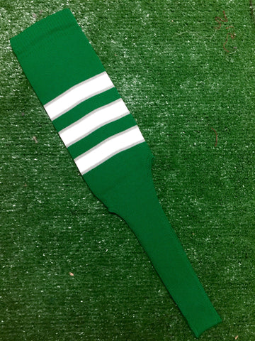 "Baseball Stirrups 8"" Kelly Green with White Stripes Trimmed with Gray"