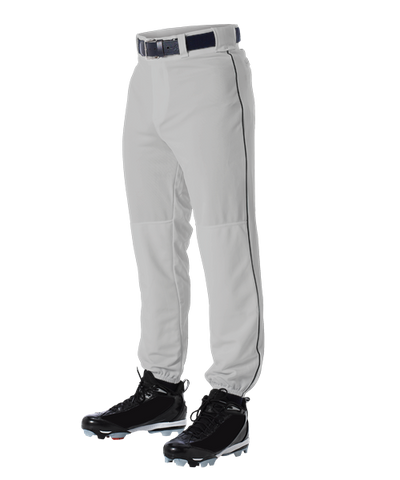 Alleson 605PLP 605PLPY Gray With Black Baseball Pants with Elastic Bottom