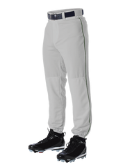 Alleson 605PLP 605PLPY Gray With Dark Green Braid Baseball Pants with Elastic Bottom