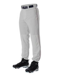 Alleson 605PLP 605PLPY Gray With Maroon Braid Baseball Pants with Elastic Bottom