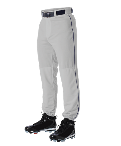 Alleson 605PLP 605PLPY Gray With Navy Braid Baseball Pants with Elastic Bottom