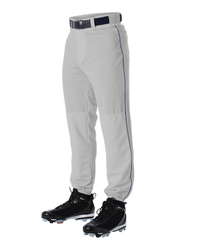 Alleson 605PLP 605PLPY Gray With Purple Braid Baseball Pants with Elastic Bottom