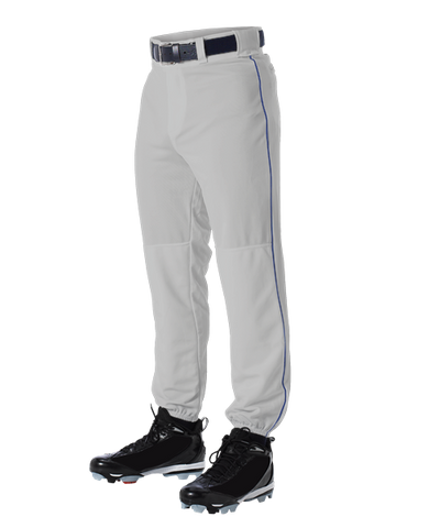 Alleson 605PLP 605PLPY Gray With Royal Blue Braid Baseball Pants with Elastic Bottom