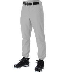 Alleson 605P 605PY Gray Baseball Pants with Elastic Bottom