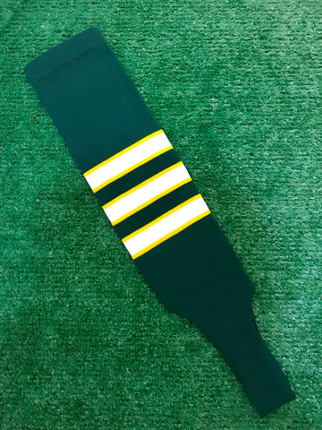 "Baseball Stirrups 5"" Dark Green with White Stripes Trimmed with Gold. (Youth)"