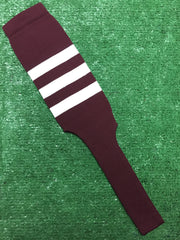 "Baseball Stirrups 8"" Maroon with Three White Stripes"
