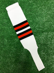 "Baseball Stirrups 6"" White with Black and Orange Stripes"