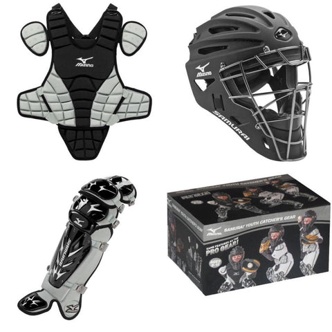 Mizuno Baseball Samurai Youth Catcher's Set Black Gray 14""