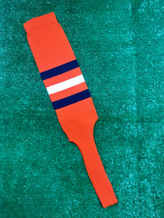 "Baseball Stirrups 8"" Orange with Three Stripes Navy White Navy"