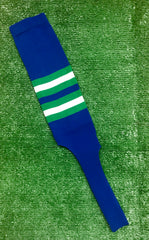 "Baseball Stirrups 8"" Royal Blue with Kelly Green and White Stripes"