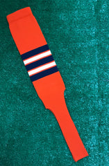 "Baseball Stirrups 8"" Orange with Navy White and Orange Stripes"