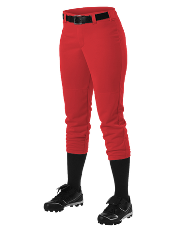 Alleson Fastpitch Scarlet Pants with Belt Loops