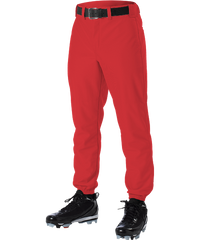 Alleson 605P 605PY Scarlet Baseball Pants with Elastic Bottom