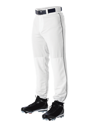 Alleson 605PLP 605PLPY White With Black Braid Baseball Pants with Elastic Bottom