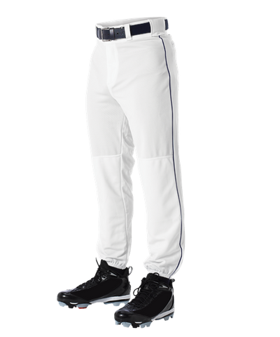 Alleson 605PLP 605PLPY White With Navy Braid Baseball Pants with Elastic Bottom
