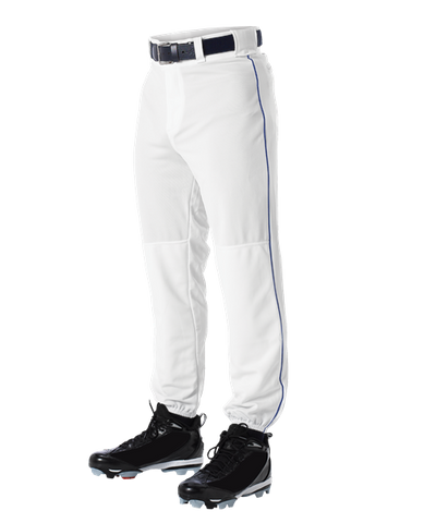Alleson 605PLP 605PLPY White With Royal Braid Baseball Pants with Elastic Bottom